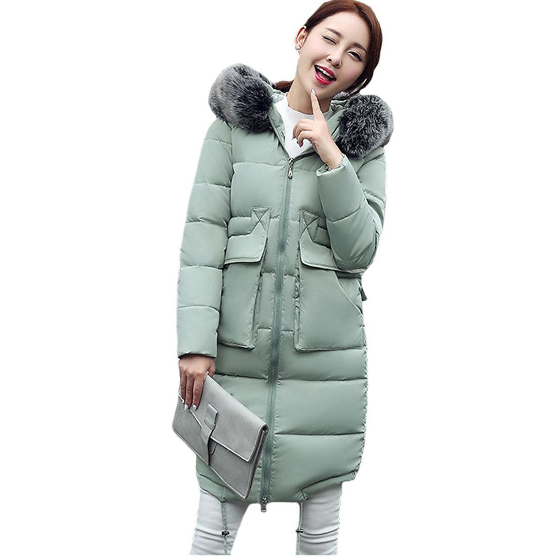 Tengo New Cotton Female Loose Size Large Thick Warm Slim Long Outwear Padded CoatÎäåæäà è àêñåññóàðû<br><br>