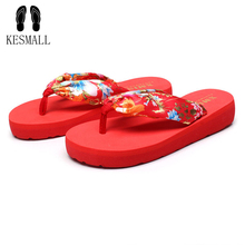 Best Gift New Fashion Bohemia Floral Drop Ship Beach Sandals Wedge Platform Thongs Slippers Flip Flops Women Floral WS10