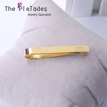 Personalized Tie Clip Engraved Your Name Custom 3 Letters Men Jewelry 925 Sterling Silver Gold Plate