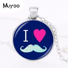 Buy Moustache Charm Necklace Beard Pendant Glass Dome Jewelry Accessories Women Long Chain Sweater Necklace Birthday Gifts HZ1 for $1.17 in AliExpress store