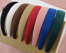 "10PCS 2.5cm 1.0"" Assorted Colors Matte Suede Velvet Covered Plain Plastic Hair Headbands,women wrapped hairbands wholesales(China)"