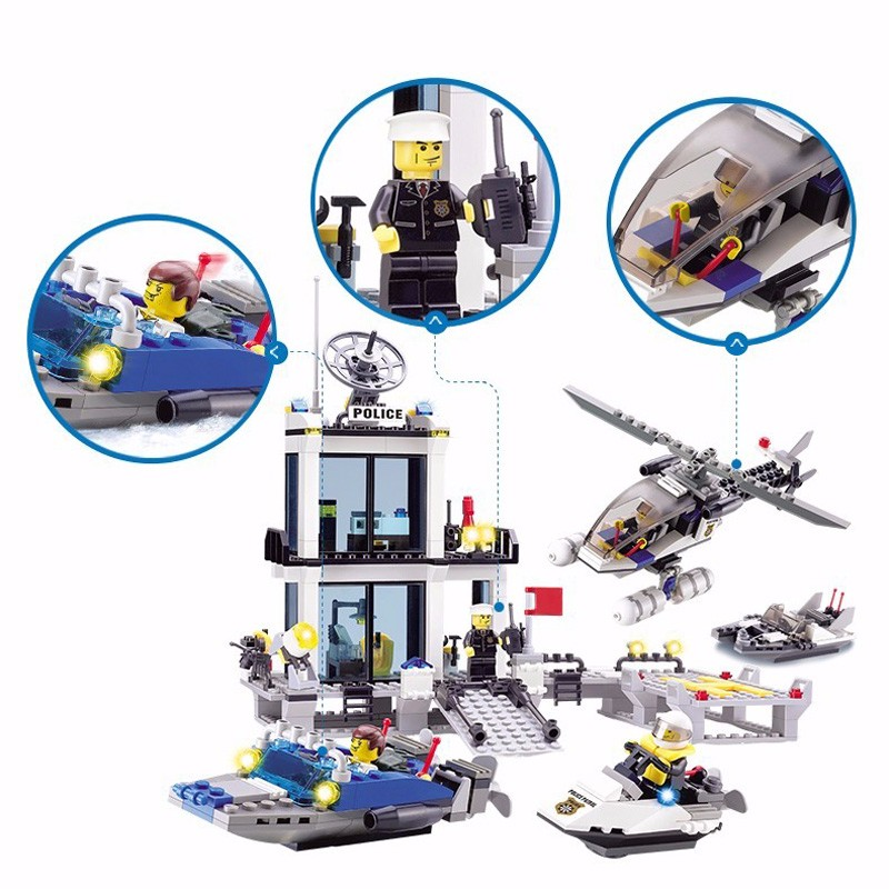 KAZI 6726 Police Station Building Blocks Helicopter Boat Model Bricks Toys Compatible LegoINGlys Blocks Toys For Children Gift 3