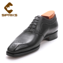 Sipriks Luxury Brand Mens Black Oxford Female Shoes Unique Designer Dress Shoes For Men Italian Bespoke Goodyear Welted Shoes