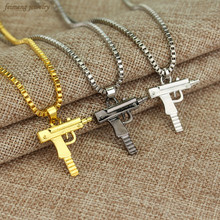 Engraved Hip Hop For Gun Shape Uzi Pendant Fine Quality Necklace Chain Popular Fashion Jewelry for Women Men Best Gifts(China)