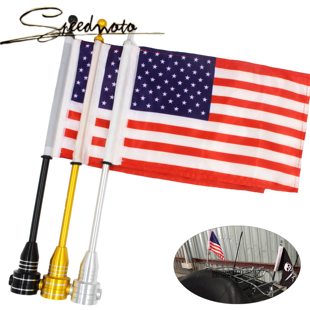 CNC Aluminum Motocycle Rear Side Mount Luggage Rack Vertical Flag Pole American For Harley ouring harley sportster 883 dyna<br><br>Aliexpress