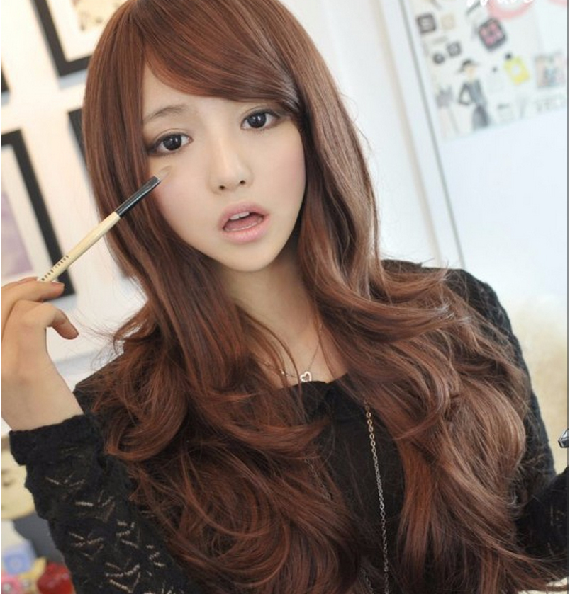 Fashion Womens Lolita Long Curly Wavy Wigs Cosplay Party Full Hair Wig Flaxen Yellow Light Brown Dark Brown Black Wig<br><br>Aliexpress