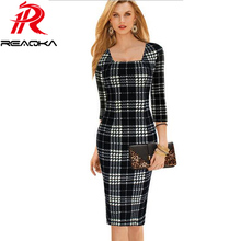 Reaqka Womens Elegant Tartan Square Collar Tunic Wear Work office dresses 2017 Business Casual Party Stretch Pencil Sheath Dress