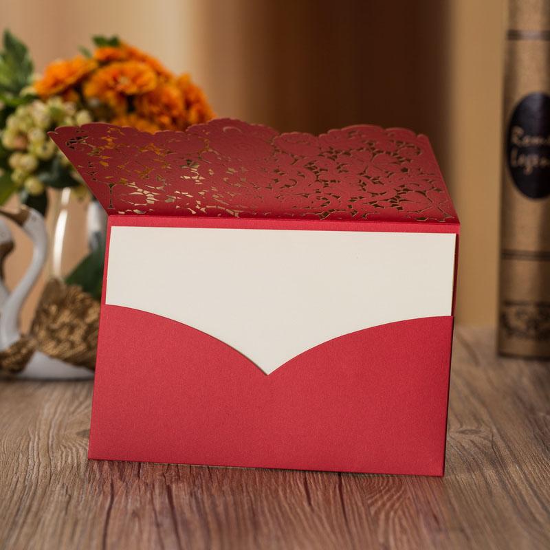 1pcs Sample Gold Red Laser Cut Luxury Flora Wedding Invitations Card Elegant Diamond Lace Favor Wedding Event & Party Supplies (4)