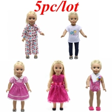 5pc/lot Doll Clothes American Girl Princess Dress Suits Clothes for 18 inch American Girl Doll Baby Born Zapf Doll Clothes Z10(China)