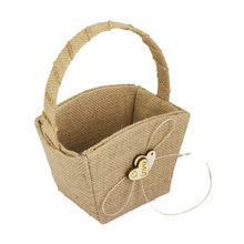 Vintage Wedding Burlap Hessian Flower Girl Basket Wooden Heart Bridal Party Hessian Burlap Girl Basket Wedding Basket(China)