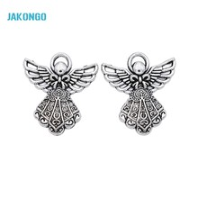 JAKONGO Wholesale Antique Silver Plated Angel Charms Beads Pendants for Jewelry Making DIY Handmade 26x23mm(China)