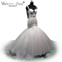 Buy Vestido De Noiva 2018 Spaghetti Straps Lace sexy backless wedding dresses New Fashion Long Beaded White wedding dress mermaid for $247.05 in AliExpress store
