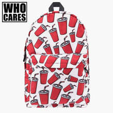 Coke 3D Printing canvas backpack women bookbag mochila 2017 back pack school bags for teenage girls sac a dos canvas backpack(China)