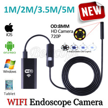 HD720P WIFI Iphone Endoscope Snake USB Camera 8mm Lens 5M 3.5M 2M 1M Android Tablet PC Pipe Inspection Borescope USB Camera(China)
