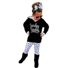 Children Clothing Kids Clothes Toddler Girl Clothing Baby Boy Girl Dot Hoodie Tops+Pants Football Long Sleeve Outfits Clothes(China)