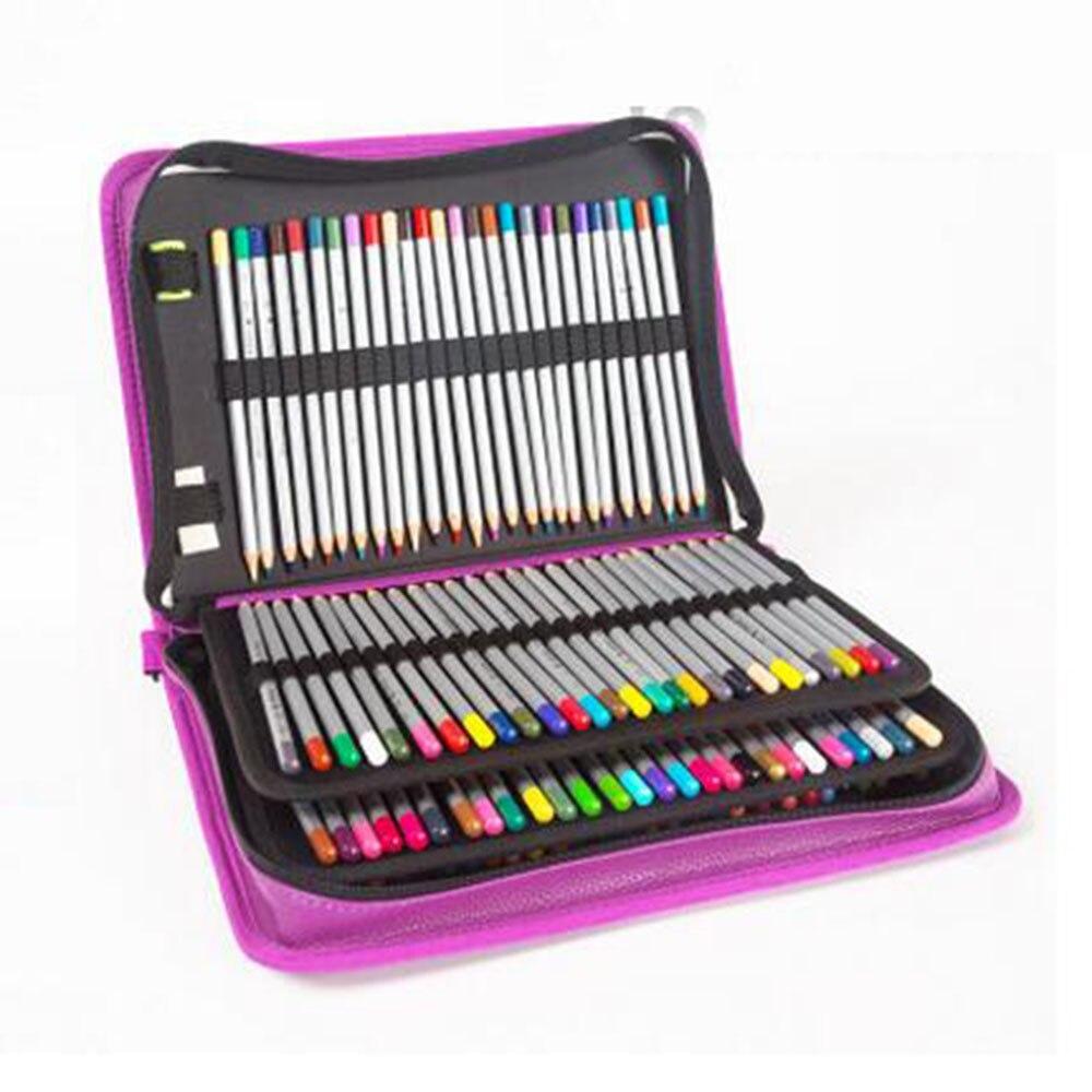 160 Hole Folding PU Leather School Pencils Case Large Capacity Portable Pencil Bag For Colored Pencil Gel Pen Case Art Supplies<br>