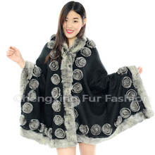 CX-B-P-40E Rex Rabbit Fur Trim Women 100% Pashmina Shawls With Fur ~Drop Shipping