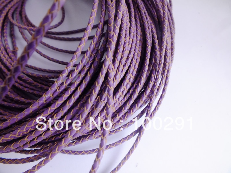 Free shipping !!! Wholesale 100m/lot purple braided leather cord 3mm jewelry necklace bracelet accessories X01598