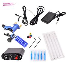 Complete Tattoo Machine Kit Blue Tattoo Dragonfly Machine Power Cord Clip Cord Foot PedalTattoo Beginner Kits Permanent Makeup