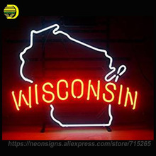 NEON SIGN For Wisconsin State Glass Tube Coors Light Handcrafted With Metal Frame Artwork Great Gifts Night Lamp Super BRIGHT(China)