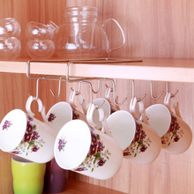 Stainless Steel Holder Hooks Cupboard Coffee Cup Hanging Draining Hanger Cabinet Shelf Double Row 10 Hooks for Storage Glass