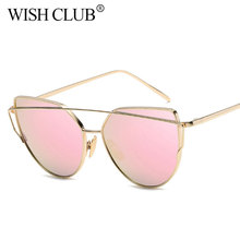 WISH CLUB Fashion Cat Eye Sunglasses Women Brand Designer Cateye Sunglasses Vintage Mirror Sun Glasses For Female Eyewear UV400