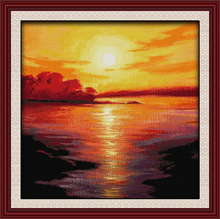 Top counted cross stitch kit 11CT&14CT embroidery DIY innovation items home decoration needlework kit - Sea in twilight(China)