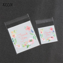 100Pcs/Pack Cute Pink Flower Print Gift Boxes Bags Plastic DIY Candy Cookies Wedding Birthday Party Craft Bags Packaging Bags