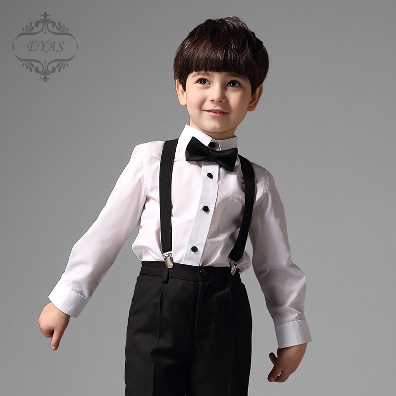 2017 Eyas Children Boys Clothing Formal Suit Set 4-pc Outfit Tuxedo Style With Pants Shirt Suspenders Bowtie Ring Bearer K5118<br>