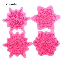 4PCS/Set Snowflake Gift Embosser Christmas Lace Press Biscuit Fondant Cookie Cutter Mold Bakeware Pastry Decoration Tool 51057