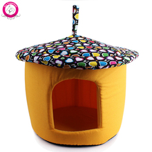 Unique Mushroom Small Dog Cat Bed House Canvas Cover Foam Padded Puppy Kennel Pet Cama