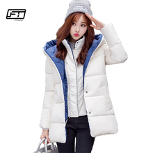 Fitaylor 2017 Women Winter Warm Hooded Jacket Cotton Padded Caot Solid Thick Slim Medium Long Jackets Parka Girl Costume(China)