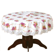 PVC Pastoral round table cloth waterproof Oilproof non wash plastic pad plus velvet anti hot coffee tablecloth 152cm #10