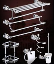 top high quality solid brass chrome finish Bathroom Accessories Set,Robe hook,Paper Holder,Towel Bar,Soap basket,bathroom sets,
