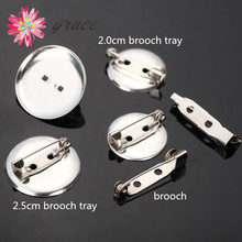 Plated Metal Cabochon Iron Basic Round Brooch Bar Pin Blank Backs Base Clasp Diy Jewelry Findings With Safety Catch Spacers Lock(China)
