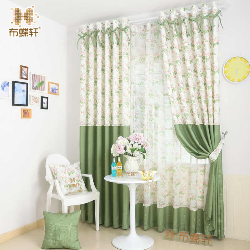 Korean Pastoral Green Wave Points Colorful Floral Prints Blinds Panel Rustic Curtains for the Kitchen Room Bedroom Living Room