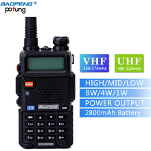 Baofeng High Power 8W UV-5R8W walkie talkie Tri Power 2800mAh battery long range 10km two way radio for Backpacking+3 antenna(China)
