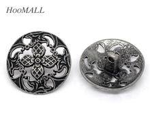 Hoomall 20 Silver Tone Hollow Flower Sewing Metal Shank Buttons Sewing Accessories 23mm(China)