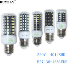 E27 LED 36 56 72 96 138leds Bombillas SMD4014 Lamp Light AC 220V 4014 Corn Bulb Christmas Chandelier Lights & Lighting