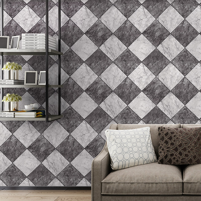 PVC Wallpaper Roll Modern Chinese Style 3D Diamond Imitation Tile Brick Wall Paper Bedroom Living Room TV Backdrop Wall Covering<br>