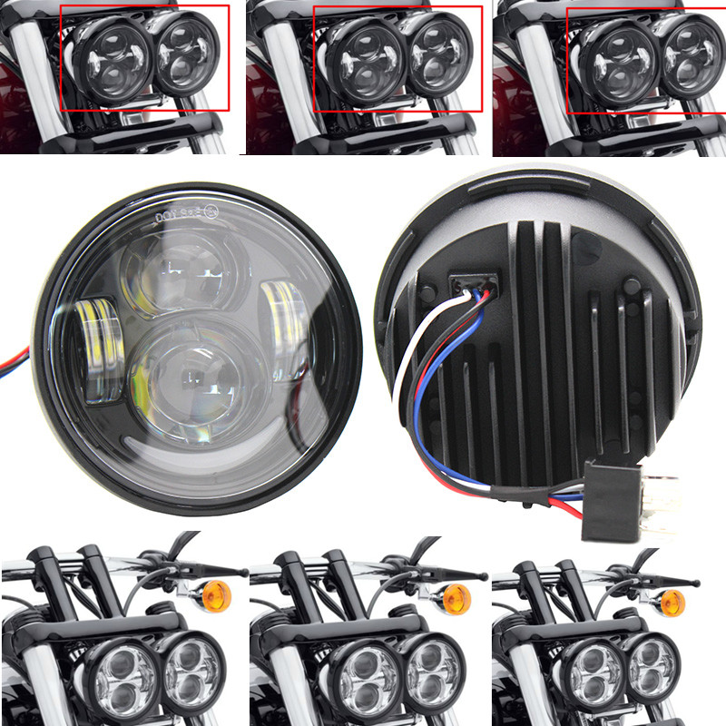 Black 80W 4.65 Fat Bob Daymaker Led Headlight For Harleys Davidsons Dyna Glide Fat Bob Led Headlamp<br><br>Aliexpress
