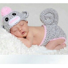 Lovely Animal Designs Crochet Knitted Baby Infant Hats Beanie Crochet Monkey Hats Diaper Set Photography  Props H041