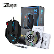 ZELOTES C12 Macro Wired USB Gaming mouse 4000DPI 12 Buttons Programmable Computer game mice with led light Driver for pc gamer