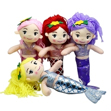 Mini Cute Plush Stuffed Mermaid cartoon dolls Curved tail Red pink yellow purple hair Cloth dolls toys for girls birthday gift
