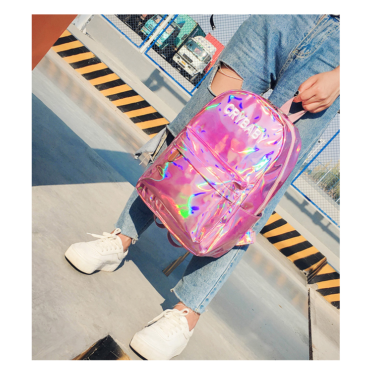 New women hologram backpack laser daypacks girl school bag