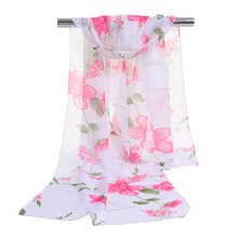 Promotion 2014 Luxury Flowery Silk Fall Scarves For Women Scarf Female Models Velvet Chiffon Scarf Super Long Scarf