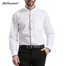 Male Social Shirt White Mandarin Collar Blue Men's Brand Shirts Autumn Casual Men Clothes Different Color Pattern for Choice(China)