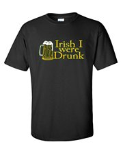 2017 Newest Mens Fashion Irish I Were Drunk Mens Sarcastic Party Very Funny St Patrick's Day T Shirt Black White Summer Tees