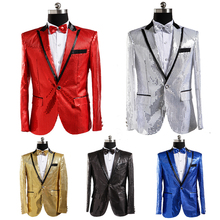 PYJTRL Mens Suit Jacket With Bow Tie Gold White Red Blue Pink Purple Sequin Costume Nightclub Singer Wedding Grooms Shiny Blazer