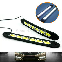 Car Headlight High Power COB LED Driving Fog Lamp Auto Head LED Daytime Running Light With turn light white+amber(China)